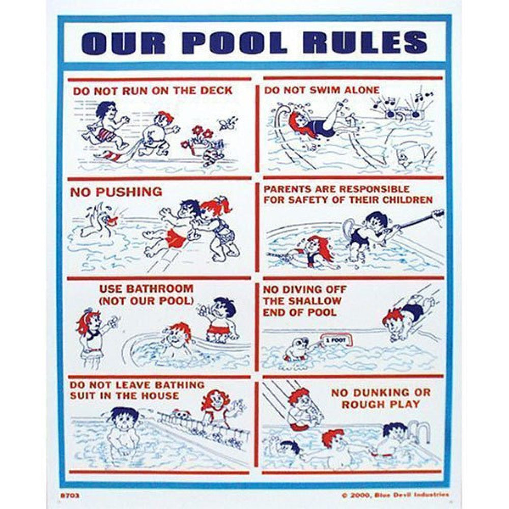 "Valterra Swimming Pool Sign Our Pool Rules 18"" x 24"""