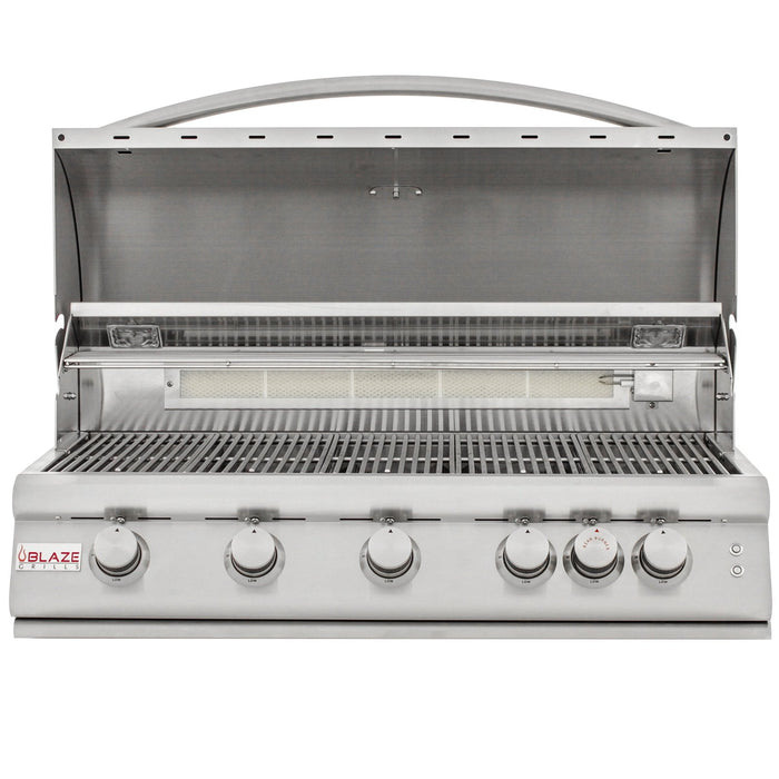 Blaze LTE 40-Inch 5-Burner Built-In Propane Gas Grill With Rear Infrared Burner