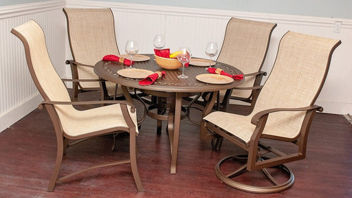 "Cortland 48"" Sling Outdoor Dining Set by Woodard"