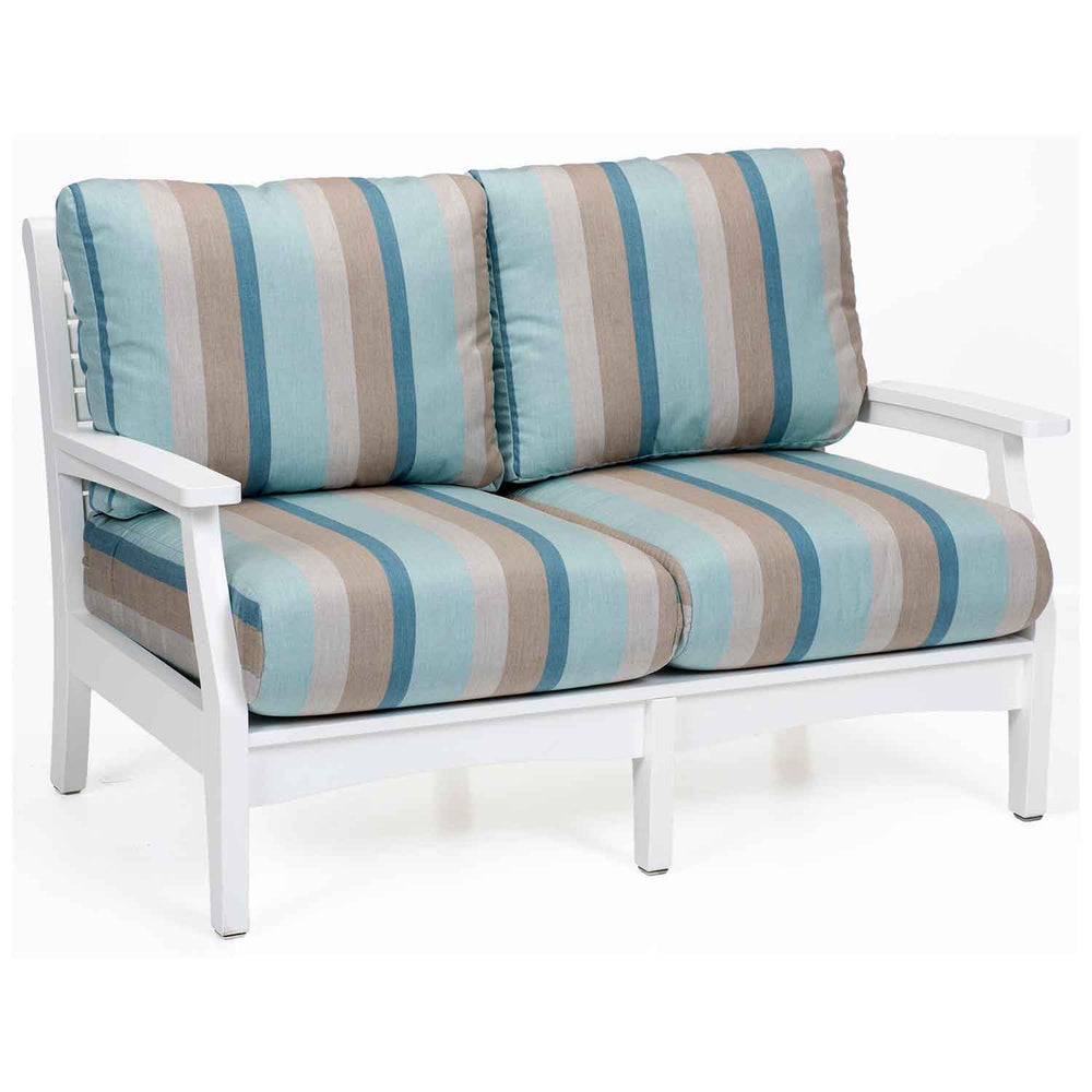 White poly lumber outdoor lounge loveseat with striped cushions by berlin gardens