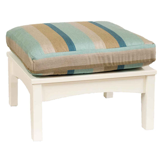 White Square Poly Lumber Outdoor Ottoman with Striped Cushion by Berlin Gardens