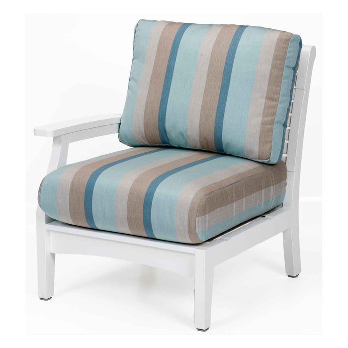 white poly lumber outdoor lounge right arm club chair with striped cushions for classic terrace sectional set by berlin gardens
