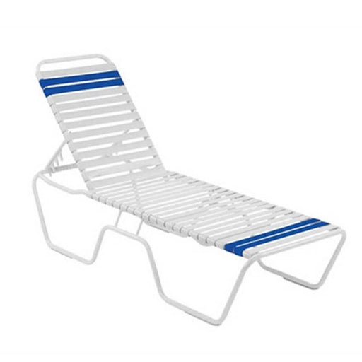 Blue and White Country Club Aluminum Strap Chaise Lounge
