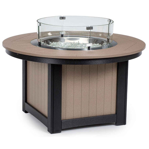 "Brown and White Berlin Gardens Donoma 44"" Round polywood Fire Pit Table"