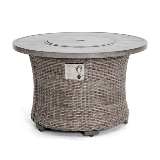 Fire Pit with a woven base and aluminum top