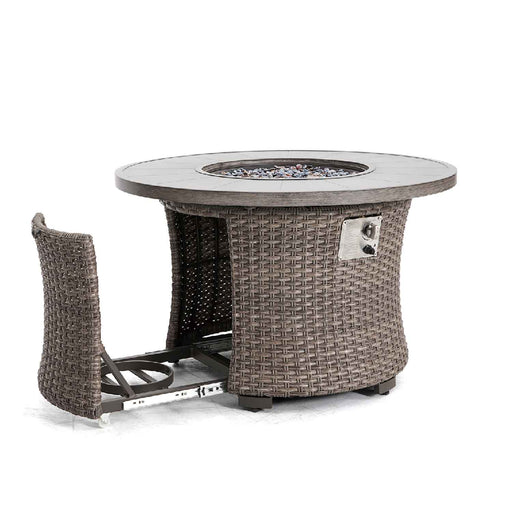 fire pit with aluminum top and woven base and open propane compartment