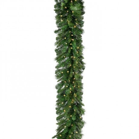 "New Zealand 9'x14"" Pre-Lit Christmas Garland (150 CL) by Regency Trees - GNZ914L"