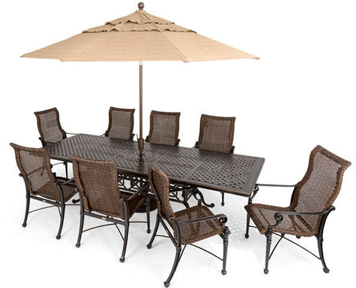 "Grand Terrace 74""x114"" Extension Woven Dining Set"
