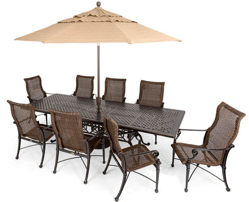 "Grand Terrace 74""x114"" Extension Woven Dining Set by Gensun"