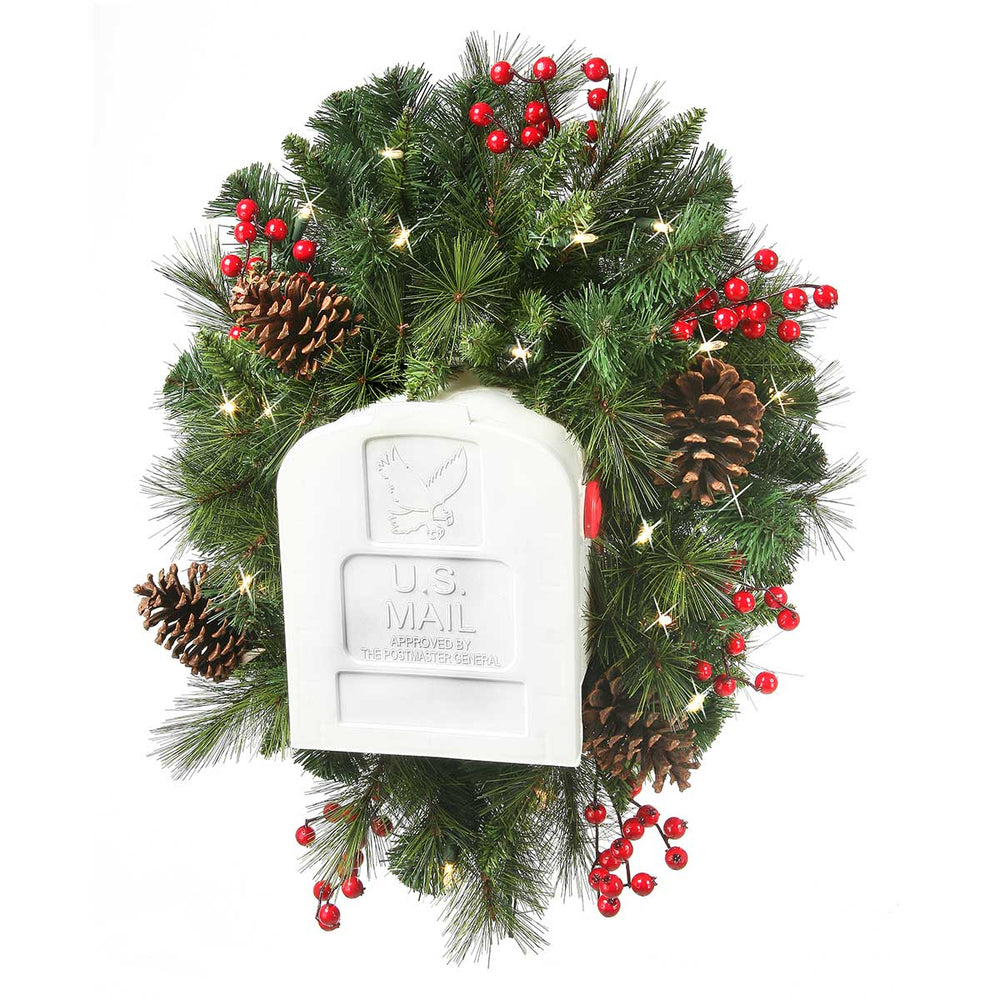 Belgium Deco 3' Pre-Lit Christmas Mailbox Swag (19 Battery) by Regency Trees - MBS3L