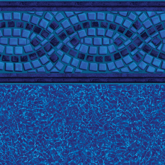 Mosaic Wave Tile, Brilliant Blue Bahama Floor In Ground Pool Liner