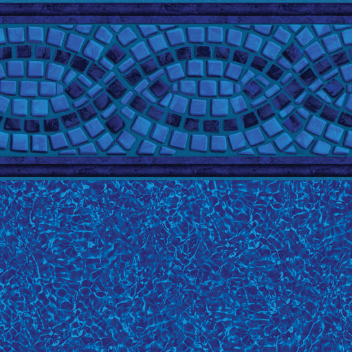 Mosaic Wave Tile, Bahama on Brilliant Blue Floor In Ground Pool Liner