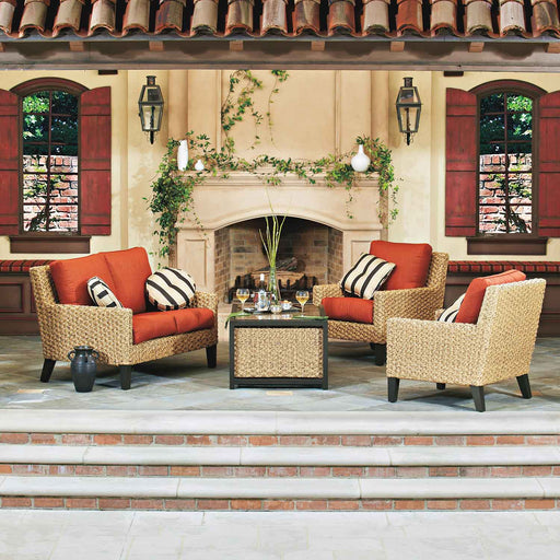 Mona Outdoor Loveseat Set (Canvas Rust) by Woodard