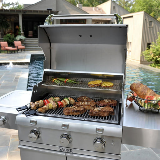 Vegetables grilling on a saber 500 infrared gas grill