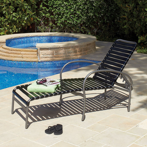 Rivington Strap Stackable Adjustable Chaise Lounge by Woodard