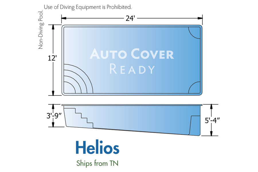 Helios Rectangle Fiberglass Pool