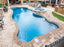 Synergy Modern Freeform Fiberglass Pool with Coping and Stone Deck