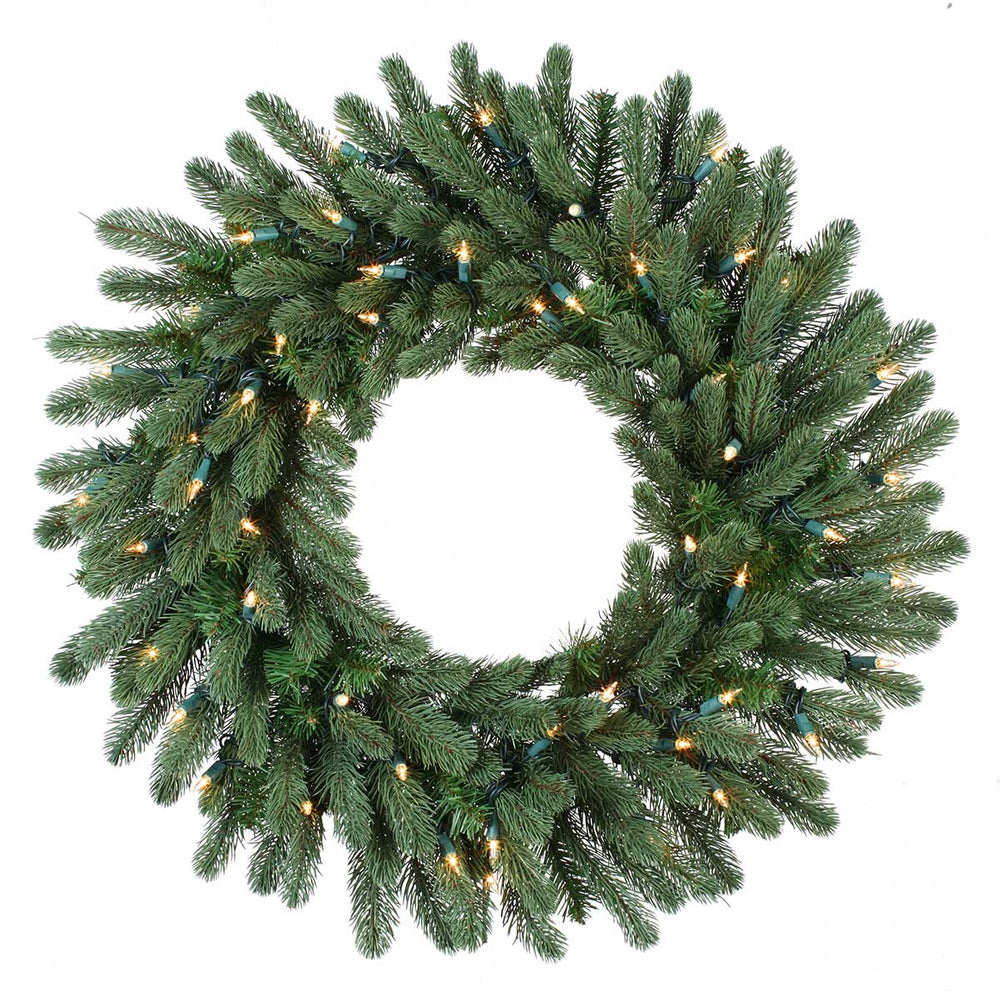 "Greenwood 24"" Christmas Wreath (50 Staylit CL) by Santa'S Own - WGP24SL"