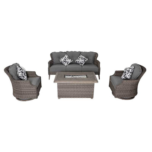 Lassen 4 Piece Outdoor Wicker Sofa/Fire Table Set on a white background