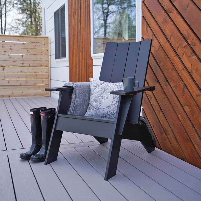 Berlin Gardens Nordic Recycled Plastic Adirondack Chair in Matte Black