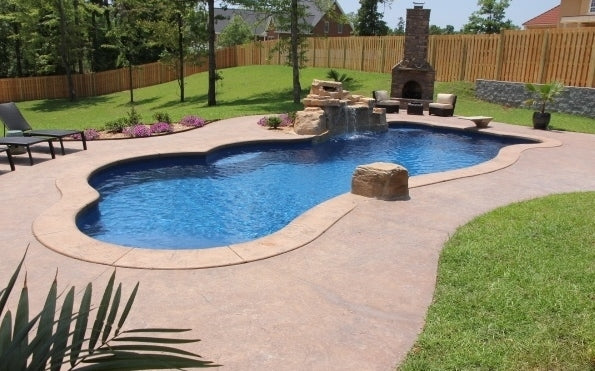 Synergy Modern Freeform Fiberglass Pool with Rock Waterfall