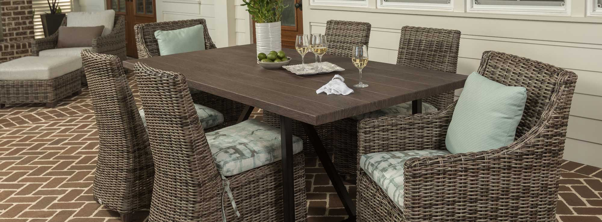 Woven Wicker Outdoor Dining Set for 6