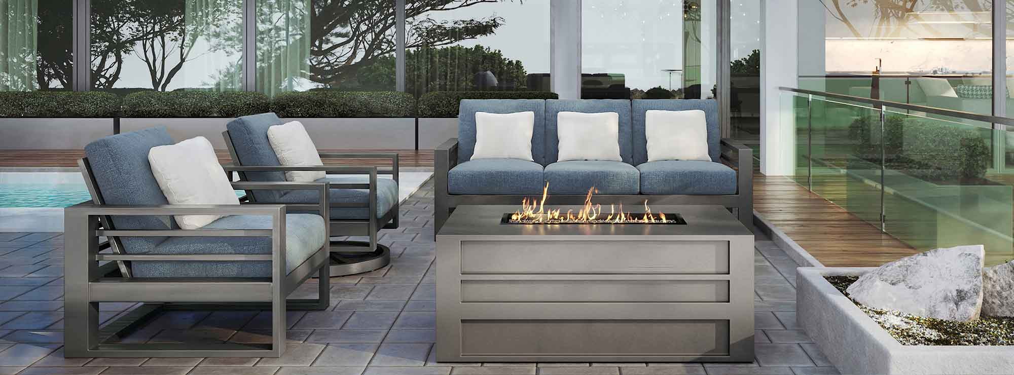 Palermo High Back Sofa w/ Fire Pit Lifestyle Image