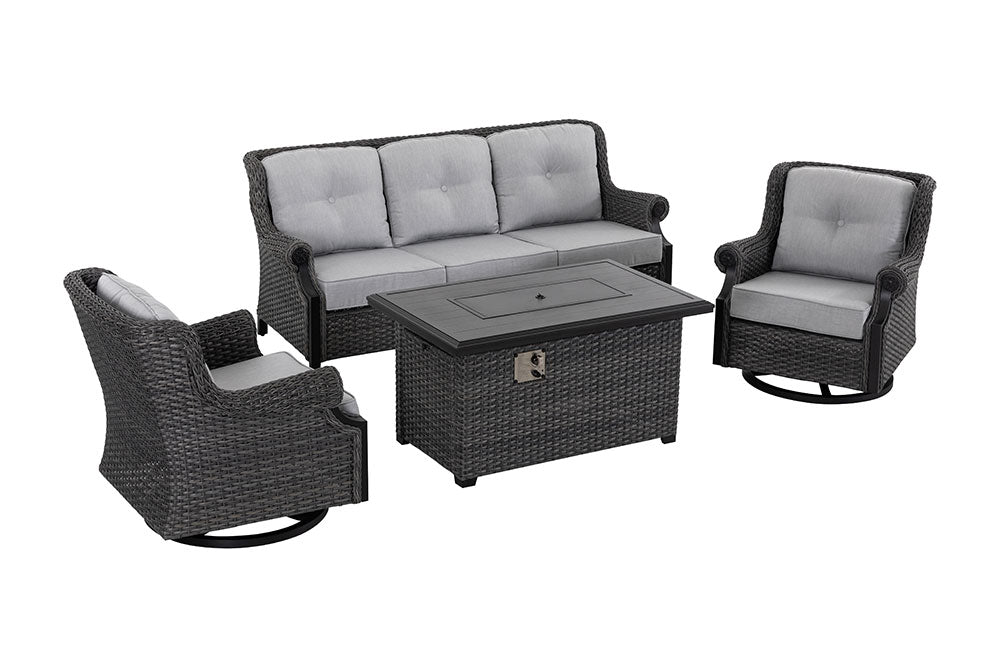 Lassen Outdoor Sofa Fire Table Set by Patio Time