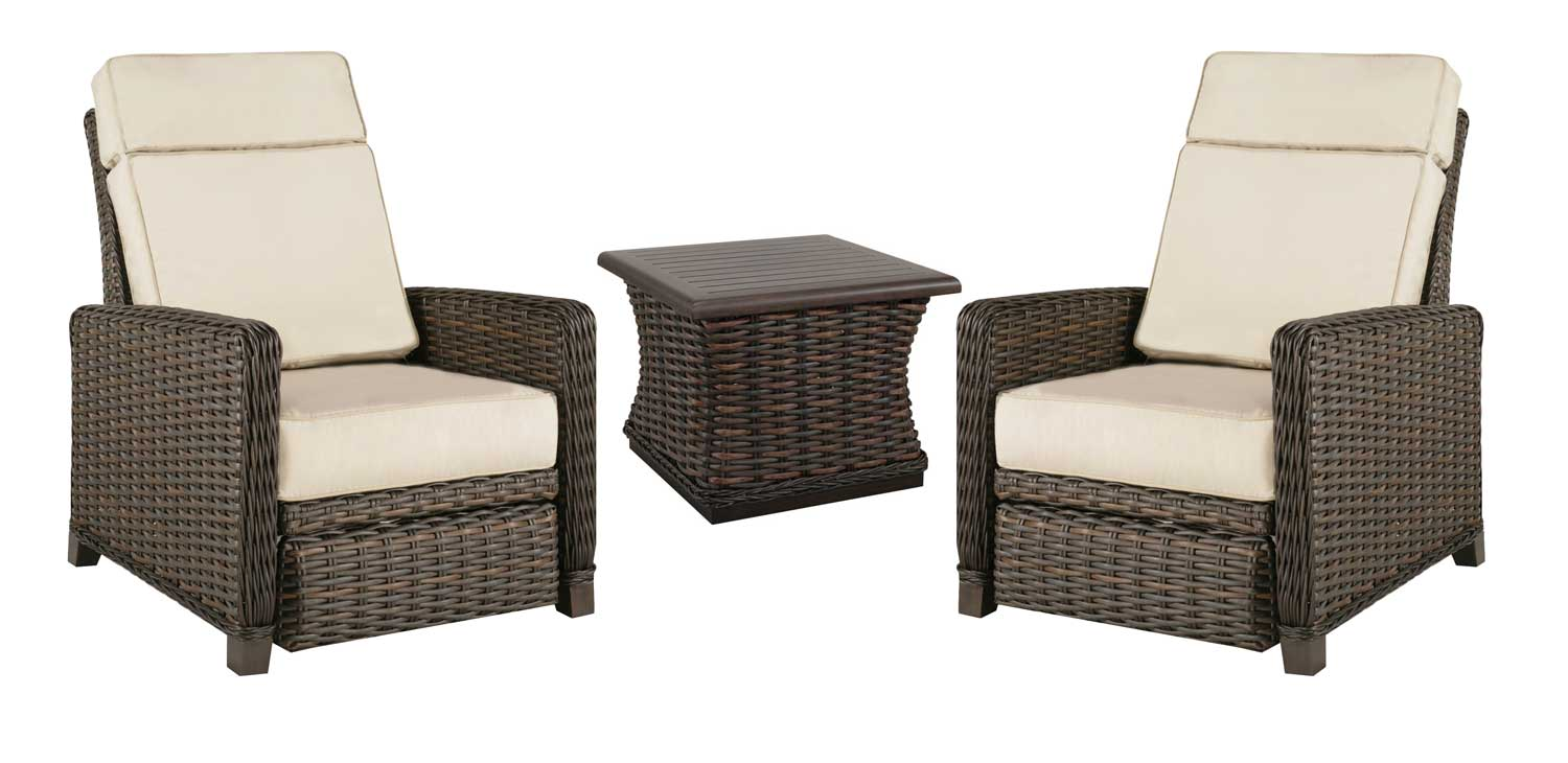 Two Catalina Outdoor Loungers and a woven end table