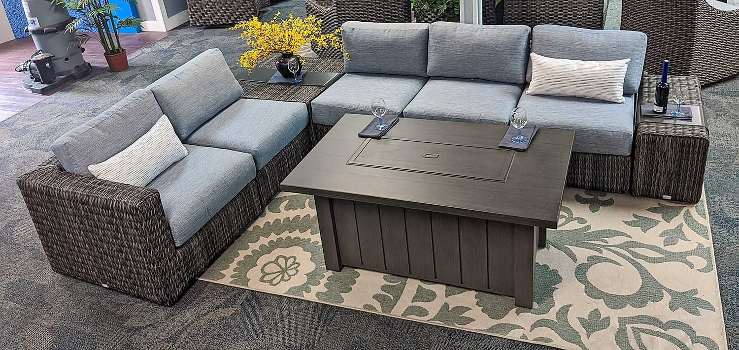 Orsay Woven Sectional Set with fire pit by Ebel