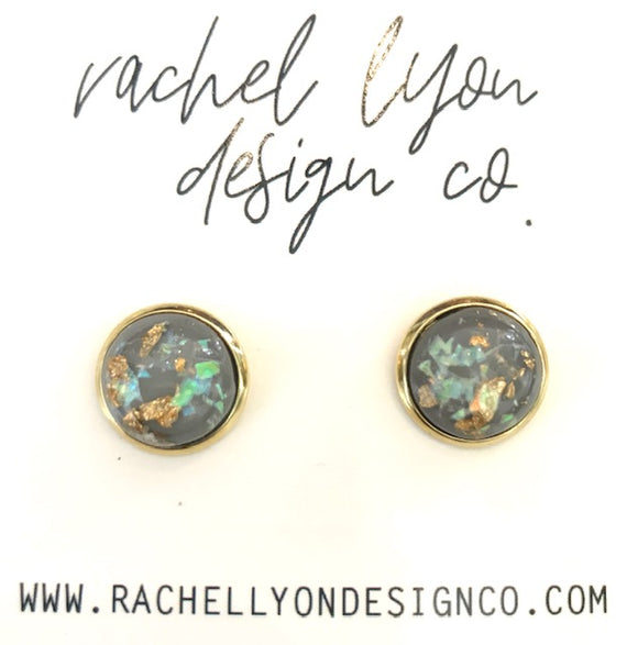 Grey Gold Leaf Stone Studs - 12mm