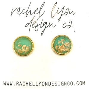 Teal Gold Leaf Stone Studs - 12mm