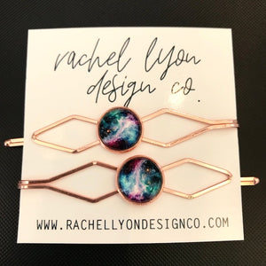 Galaxy Rose Gold Barrette Set of 2