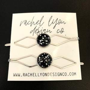 Black Disco Silver Barrette Set of 2