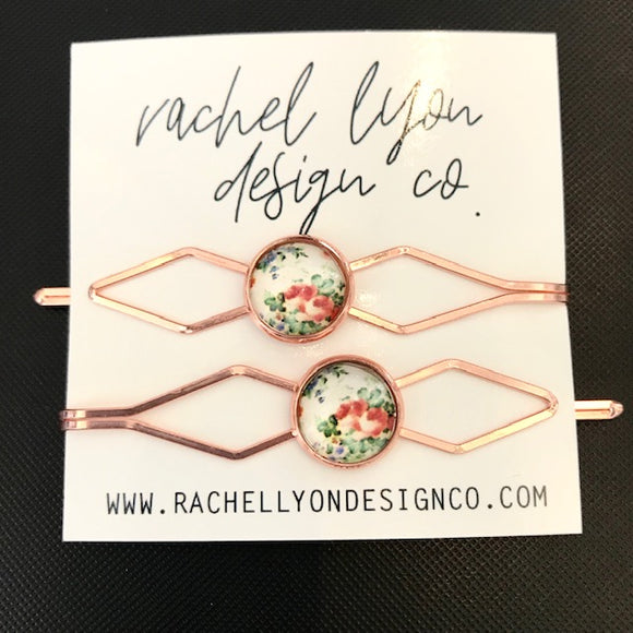Floral Rose Gold Barrette Set of 2
