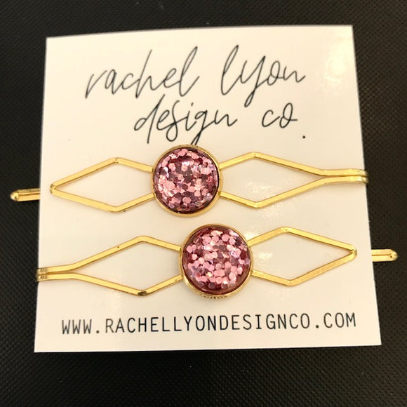 Pink Disco Gold Barrette Set of 2