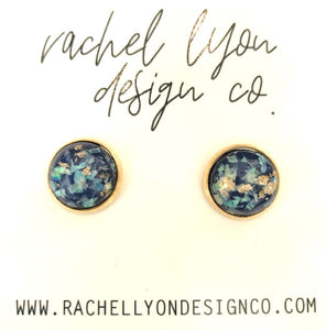 Blue Gold Leaf Stone Studs - 12mm