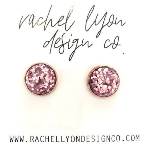 Pink Disco Stone Studs - 12mm