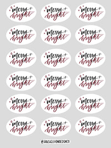 Gift Wrap Sticker Sheet//MERRY + BRIGHT