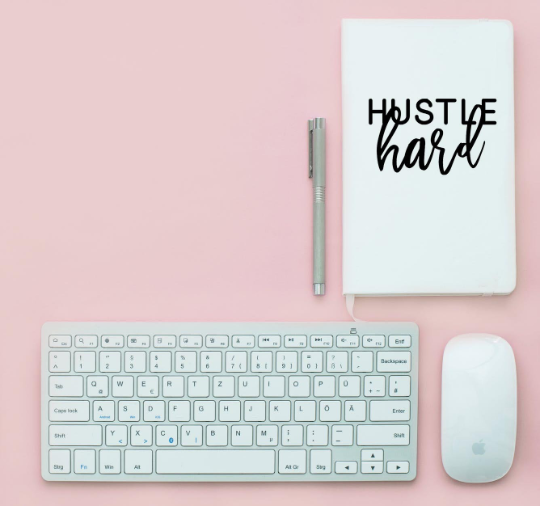 Hustle Hard Vinyl Craft Decal for Mugs, Glassware, Stationery, Wall Art Choose Colour