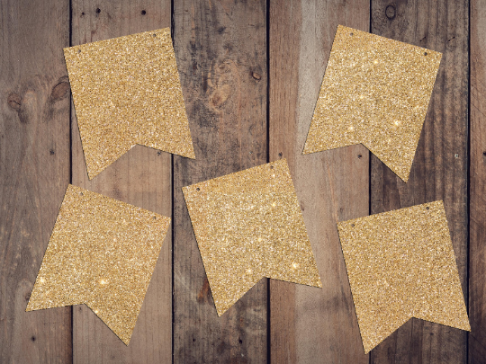 DIY Glitter Cardstock Bunting Banner Flags - Choose Colour