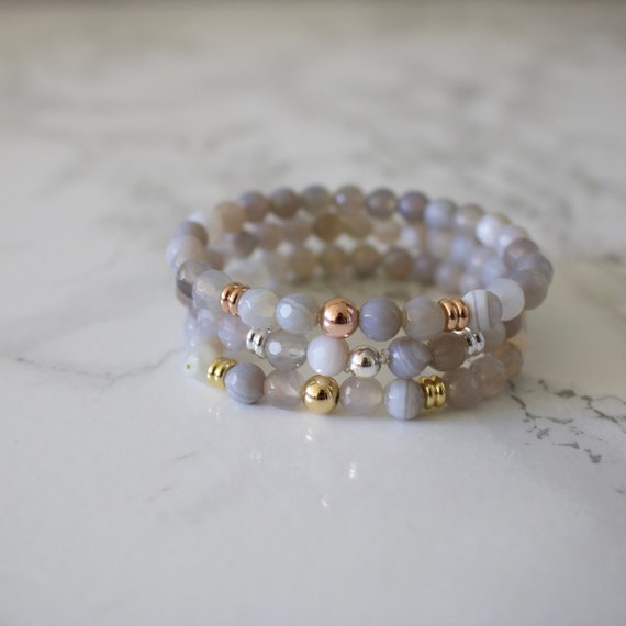 Grey Agate Bracelet - Dainty Beaded Bracelet - Stacking Bracelet