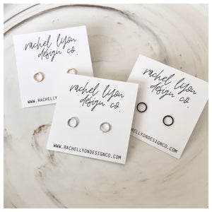 Dainty circle studs//choose colour