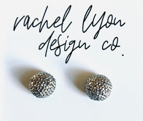 Gunmetal Disco Ball Studs