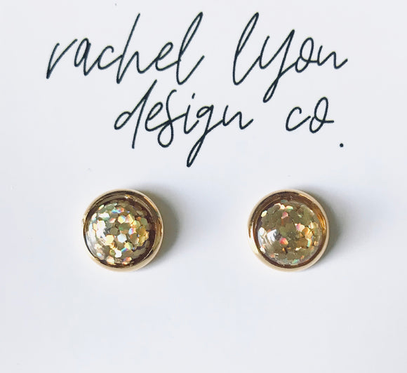 Gold Disco Studs - 8mm
