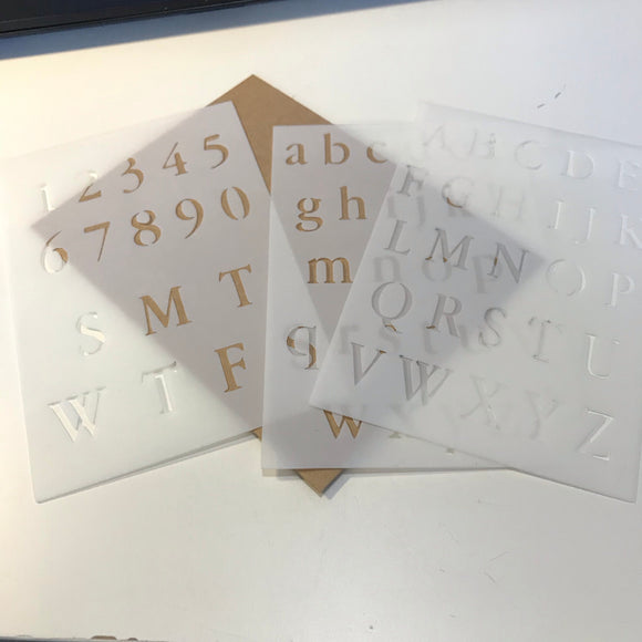 Journal Stencil Set - Alphabet + Numbers