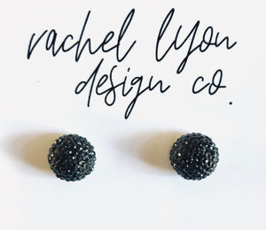 Black Disco Ball Studs