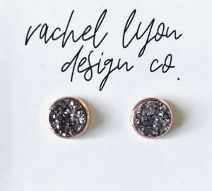 Rose Gold Druzy Stone Studs - 8mm