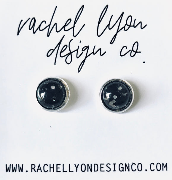 Black Disco Studs - 8mm