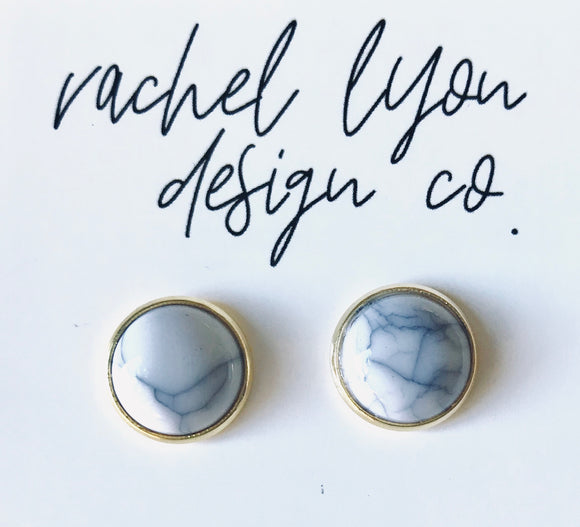 Cracked White Marble Studs - 12mm